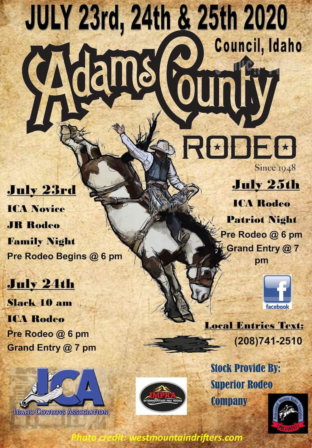 2020 Flier for Adams County Rodeo